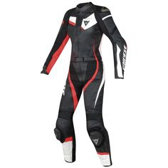 Traje / Mono DAINESE Veloster Lady Black / White / Red Fluo · Motocard