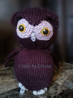 Knit Purple Owl Made Knit with Soft Bamboo Yarn by CraftsByLiliana