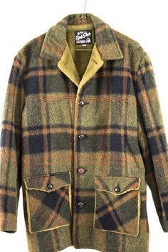 ff5b847f35a 60s Vintage Men s Green Plaid Coat size Medium