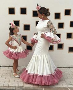 Image may contain: 2 people, people standing and child Cuban Dress, English Dress, Kids Party Wear, Flamenco Costume, Mother Daughter Fashion, Fiesta Outfit, African Lace Dresses, Spanish Fashion, Pretty Dresses