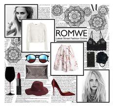 """Romwe Skirt"" by summerlcve ❤ liked on Polyvore featuring Wildfox, Rebecca Taylor, Christian Louboutin, Monki, Shiraleah, BCBGMAXAZRIA, Moschino, Boohoo, Riedel and romwe"