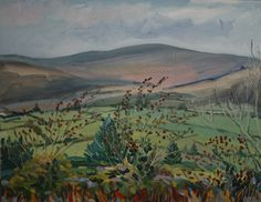 """Irish landscape """"From Collins's Field to Mulaghmesha"""",oil on Anastasia O Donoghue Healy, can be viewed at Greenacres Art Gallery Wexford town,Ireland. Wexford Town, Irish Landscape, Anastasia, Ireland, Art Gallery, Oil, Board, Artist, Painting"""