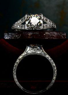 1920s Art Deco 1.20ct European Cut Diamond (H-I VS1) Ring  Platinum, Single Cut Diamonds (approx. 0.09ctw)