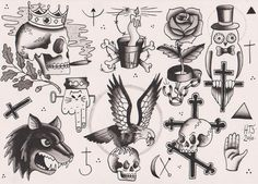 There is a vast difference between gang tattoos of different mafias. The Russian mafia tattoos paid great attention to detail and are secretive in nature, while the American gang tattoos are just marks of membership and do not carry specific meanings. Flash Art Tattoos, Retro Tattoos, Tattoo Flash Sheet, Body Art Tattoos, Tattoo Art, Russian Prison Tattoos, Russian Criminal Tattoo, Russian Tattoo, Tattoo Designs And Meanings