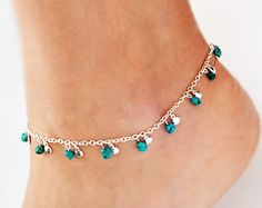 BOHO Anklet Turquoise Jewelry Bohemian Anklet by BoCadeJewelry