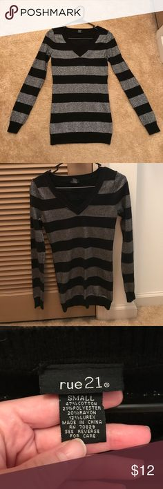 Black Top with Silver Glitter Long-sleeve Black shirt with adorable silver glitter stripes! Size Small. Rue21 Tops Tees - Long Sleeve