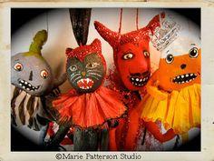 Spun cotton Halloween ornaments by Marie Patterson of Marie Patterson Studio.