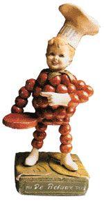 'Flipje, het fruitbaasje van Tiel', een bekend reclamefiguurtje van 'De Betuwe'.