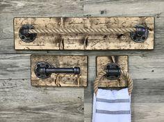 Rustic Bathroom Set of 3 Toilet Paper Holder Big Towel by Lulight