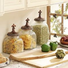 Decorative Clear Ribbed Glass Storage Canisters With Finial Jar Tops Fleur De Lis Embossed