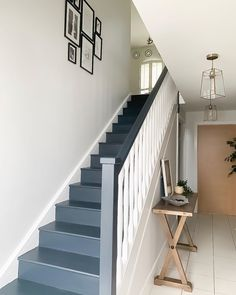 Stairs painted in Farrow & Ball Railings Paint Colors For Home, House Colors, Paint Colours, Bright Hallway, Loft Room, Painted Stairs, Farrow Ball, New Homes, Lounge