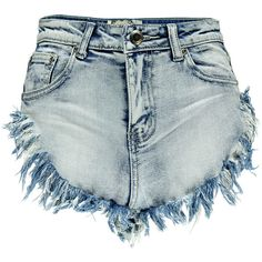 Boohoo Tia Frayed High Cut Hand Brushed Denim Hotpants ($26) ❤ liked on Polyvore featuring shorts, bottoms, pants, frayed shorts, mini shorts, micro shorts, hot short shorts and denim shorts