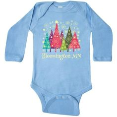 Inktastic Bloomington Minnesota Christmas Long Sleeve Creeper Tree Holiday Cities City Cute Gift State Towns Pride Travel Hws, Infant Girl's, Size: 18 Months, Blue