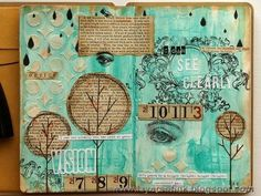 The torn pages fused into the art journal pages thanks to the gesso really add so much but are so subtle. Description from http://layersofink.blogspot.ca. I searched for this on bing.com/images