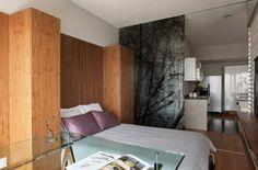 Раздвижные стеклянные перегородки в интерьере квартиры студии