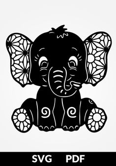 TWO designs SVG / PDF cut file papercutting template baby elephant papercut diy project digital printing template printable stencil Vorlagen Paper Cutting Templates, Stencil Templates, Printable Stencils, Silhouette Cameo Projects, Silhouette Design, Silhouette Cameo Disney, Silhouette Files, Machine Silhouette Portrait, Elephant Stencil