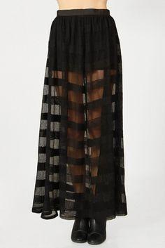 Sheer Stripes Floor Length Skirt