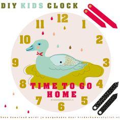 #DIY #Kids #clock #zelfmaken #kinderklok | Kinderkamerstylist.nl