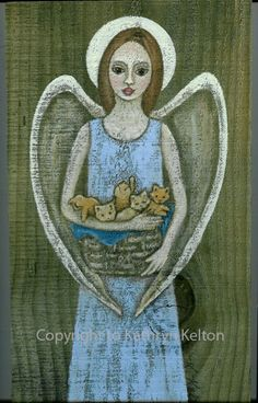 """""""Hands Full of Love"""" by Kathryn Kelton.  Painted on an old board.  Folk Art angels have a special charm."""