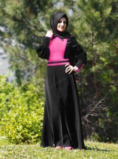 İki Renkli Elbise 9241A - Siyah - Mustafa Dikmen