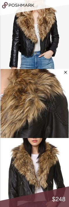 FreePeople Vegan Leather Jacket wFauxFur NEW Reqsz Free People Vegan Leather Jacket w Faux Fur Detachable Collar NEW -❤️Size Small❤️☝️other sizes possibly avail by req in XS, M, L.   authentic, NWT, ⭐️never worn⭐️sold out style. Orig ret approx $248 ➕ (will dblchk later) blk jacket w faux fur collar. This style is more true to size than the other style currently in my closet (that one runs a tiny bit large)   This jacket has a light quilted lining in a red color. Another beautiful jacket…