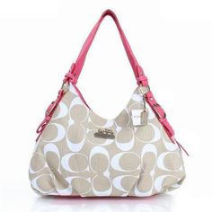 Coach Fashion Signature Medium Pink Ivory Shoulder Bags ERF Give You The Best feeling! Fashion Designers,Fashion Designer Handbags Outlet,Coach Handbags - factory outlet