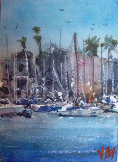 ACEO Original collectible art Watercolor Painting Boats at Marina del Rey   | eBay