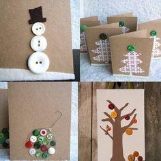 Kerstkaarten gemaakt met knopen