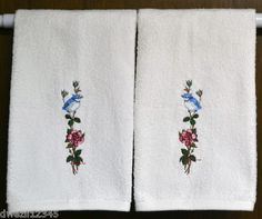 BLUE JAY BIRD ON ROSE - 2 EMBROIDERED HAND TOWELS by Susan