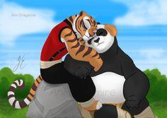 Po and Tigress - Kung Fu Panda Tigress Kung Fu Panda, Po And Tigress, Best Cartoon Movies, Panda Family, Panda Images, Zootopia Comic, Dreamworks Movies, Dragon Warrior, Comics Love