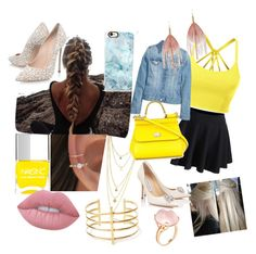 """""""Set created by my Little Sister"""" by harrypotterlover12 ❤ liked on Polyvore featuring LE3NO, WithChic, H&M, Nails Inc., Lime Crime, Dolce&Gabbana, Casetify, Casadei, BauXo and Serefina"""