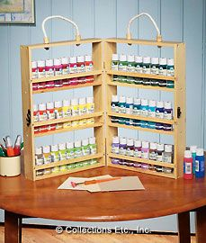 Portable 2-sided paint bottle caddy and organizer. Also works for Glimmer Mists, etc.