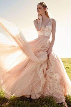 Romantic V Neck Blush Pink Lace Wedding Dresses Detachable Skirt Bridal Dresses WD088