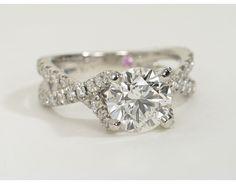 Monique Lhuillier Twist Cathedral Diamond Engagement Ring in Platinum