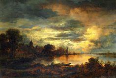 NEER, Aert van der – A Village by a River in Moonlight | Paintings Art Picture