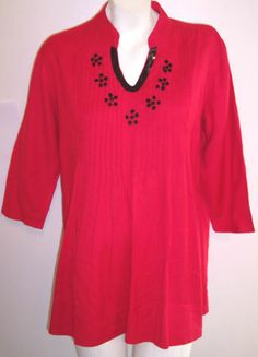 The Vermont Country Store Christmas Top M Red Beads Sequins HOLIDAY TUNIC 40BUST