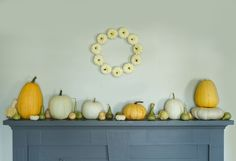 Decorating the Fall Harvest http://www.shopterrain.com/harvest_decor #pumpkins #wreath #mantle