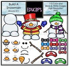 Build A Snowman Clip Art Bundle (Color and B&W)