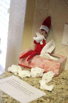 Elf on the Shelf has a cold - Xmas Elf - Noel Noel Christmas, Christmas Elf, All Things Christmas, Christmas Ideas, Christmas Girls, Christmas Labels, Christmas Decor, Christmas Activities, Christmas Traditions