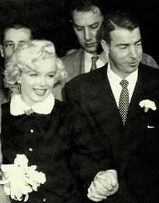 Marilyn Monroe Joe DiMaggio were marred at San Francisco City Hall on   Thursday, January 14, 1954. Monroe filed for divorce on grounds of   mental cruelty nine months after the wedding. After Monroe's death in   1962, DiMaggio had red roses delivered to her crypt two to three times   a week for some twenty years.