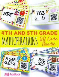 4th and 5th Grade Math Operations QR Code Task Cards Bundle - Each title contains 12 self-checking center/task QR code task cards, one recording sheet, and one 12-problem worksheet that cover the four operations of addition, subtraction, multiplication, and division. This resource will help your students be independent, active learners!