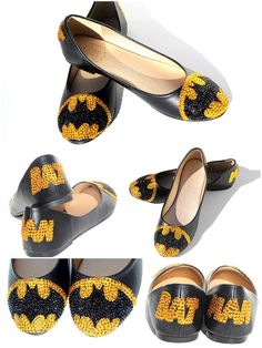 Protecting the City of Gotham. Gold and Black Swarovski Crystals cover these hand-painted black flats sparkle beautifully with the name and signal that shines in the sky only answered by one man, Batma. Cute Shoes, Me Too Shoes, Nerd Fashion, Womens Fashion, Cute Bridesmaids Gifts, I Am Batman, Batman Stuff, Batman Room, Nananana Batman