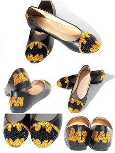 Batman Flats with Swarovski Crystal van WickedAddiction op Etsy, $120.00