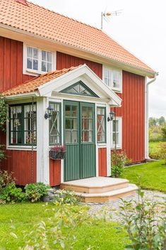 This Old House, Tiny House, Sweden House, Red Houses, Orange House, Swedish Style, House Colors, Porch, New Homes