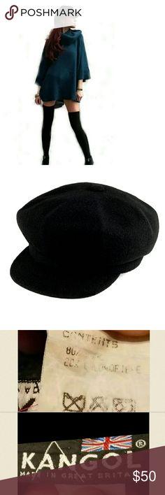 Vintage Black Wool Kangol Newsboy Cap Rare Vintage Black Wool Kangol Newsboy Cap. Made in England. One size fits most. Kangol Accessories Hats