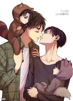 Eren x Levi - Damn it, this is too much for me! How the hell am I suppose to handle so much adorableness in one pic?!?!
