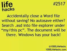 """Life Hacks) Accidentally close a Word file without saving?asd into file explorer under """"my/this pc"""".Accidentally close a Word file without saving?asd into file explorer under """"my/this pc"""". 100 Life Hacks, Simple Life Hacks, Useful Life Hacks, Back To School Life Hacks, Things To Know, Good Things, Computer Help, Computer Tips, Life Hacks Computer"""