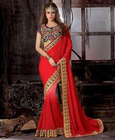 Buy Ideal Red & Pink Party Wear Sarees online at  https://www.a1designerwear.com/ideal-red-pink-party-wear-sarees  Price: $91.75 USD
