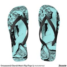 Ornamental Cherub Men's Flip Flops #Ornament #Cherub #Love #Stone #Fashion #Sandals #FlipFlops #Shoes