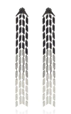 Black And White Diamond Four Lines Earring by AS29 for Preorder on Moda Operandi